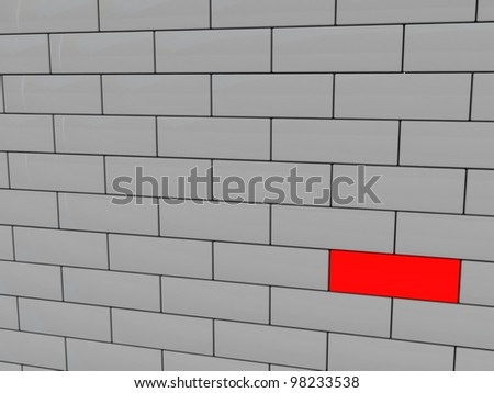 Brick wall. Concept of unique - stock photo