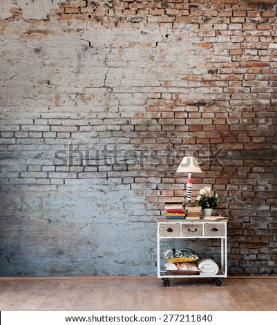 brick wall desk concept - stock photo