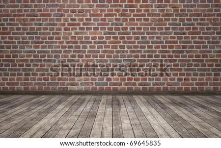 brick wall grunge room background - stock photo