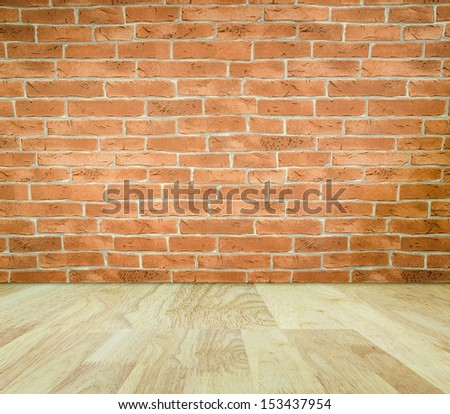 Brick wall in imagination room - stock photo