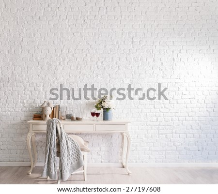 brick wall interior - stock photo