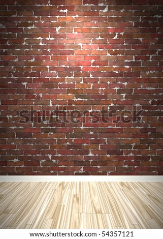 Brick wall interior background with wood parquet flooring.