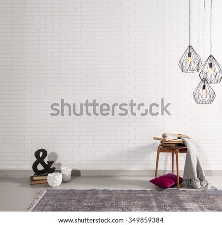 brick wall interior decor and sign - stock photo