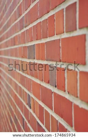 brick wall lateral view - stock photo