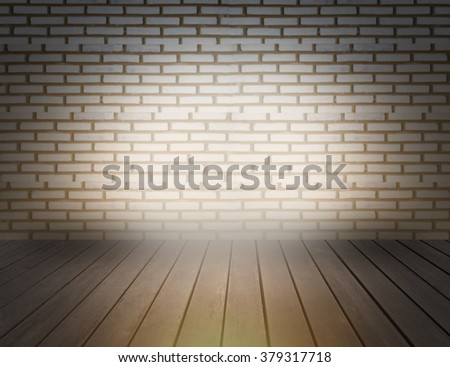 Brick wall light with wood floor background