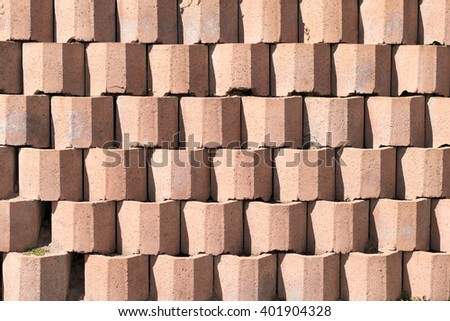 Brick wall made with cement blocks