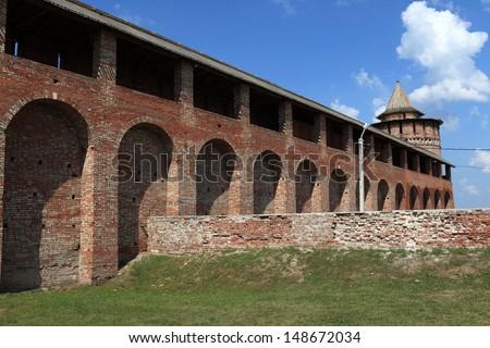 Brick wall of Kolomna Kremlin in Russia - stock photo