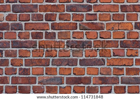 Brick wall of old barracks in the fortress of Suomenlinna. - stock photo