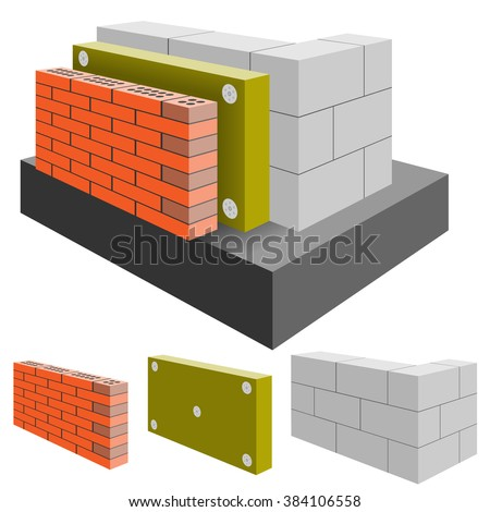 Brick Wall of the House with Insulation, cut. Arrangement Construction. Illustration.