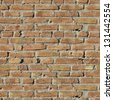 Brick Wall. Old Dark Red Bricks with Cracks and Dirt Spots. Seamless Tileable Texture. - stock photo