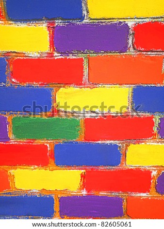 Brick wall painted children - stock photo