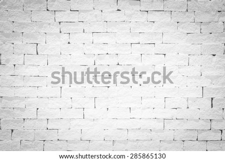 Brick wall pattern texture background painted in light white color tone: Empty masonry wall textured backdrop in white grey colour   - stock photo