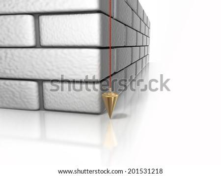 brick wall plumb line - stock photo