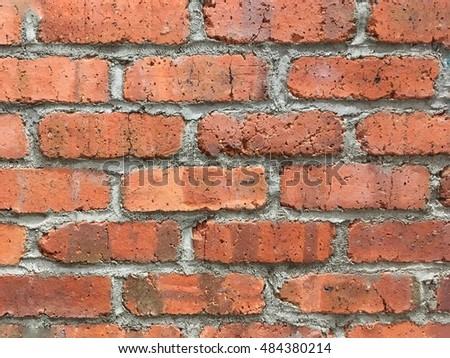 Brick wall red color