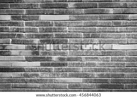 Brick wall texture pattern or brick wall background for interior or exterior design with copy space for text or image. Black and white.