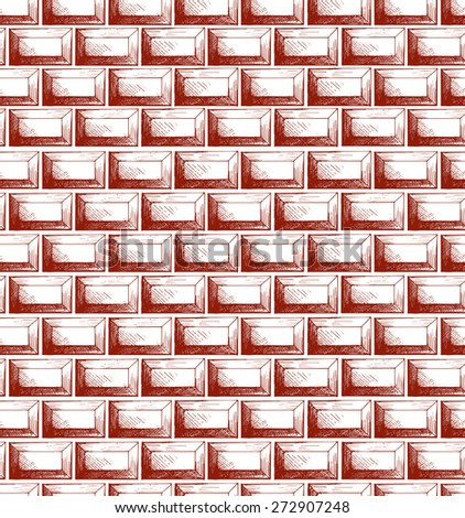 Brick wall texture. Seamless background. Doodle style. Raster version - stock photo