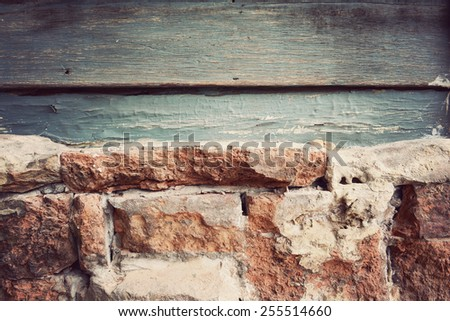 brick wall, vintage background - stock photo