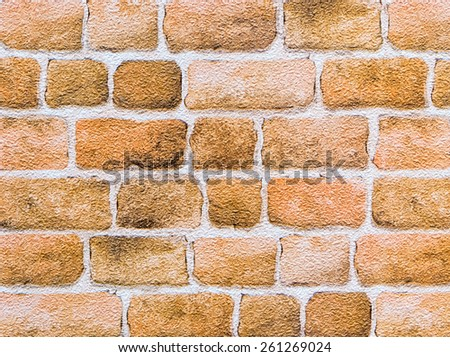 Brick Wall wallpaper by watercolor in the modern coffee shop. - stock photo