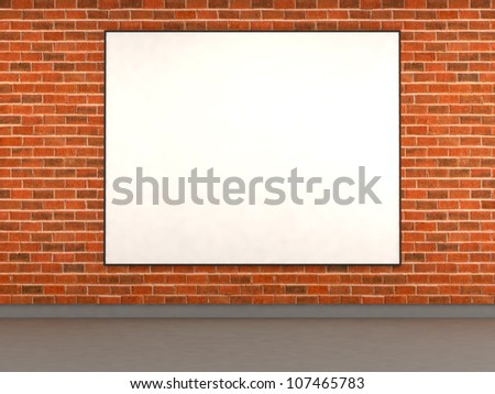 Brick wall with empty ad space. 3d illustration