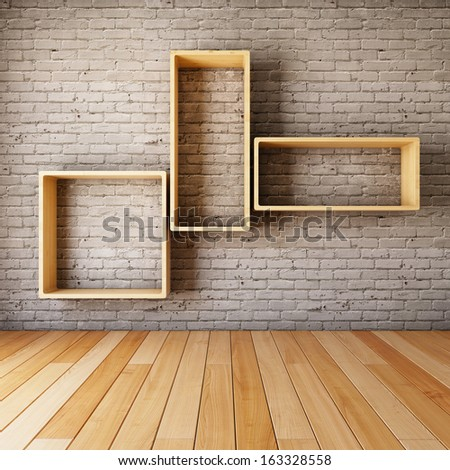 Brick wall with empty shelves in interior - stock photo