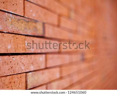 Brick Wall with Selective Focus. Horizontal composition. - stock photo