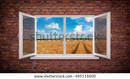 Brick wall with window - and road to horizon. 3d illustration