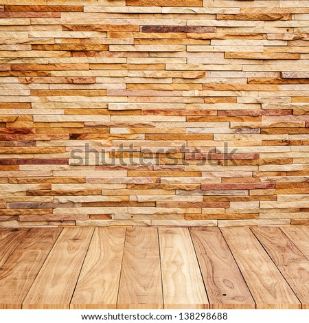 Brick wall with wooden floor background texture - stock photo