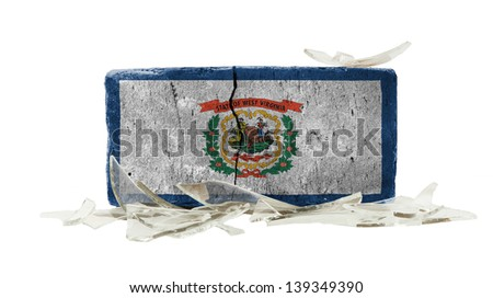 Brick with broken glass, violence concept, flag of West Virginia