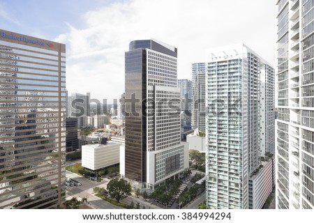 BRICKELL - JANUARY 15: Aerial image of Brickell which is a neighborhood south of Downtown Miami mainly occupied by highrise office and condominium buildings along Brickell Avenue January 15 2016 - stock photo