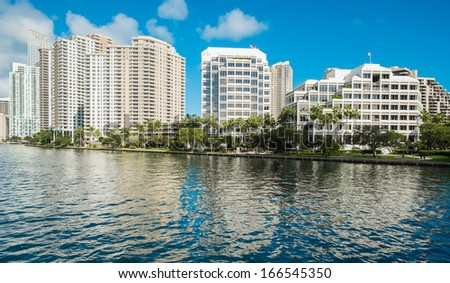 Brickell Key in Biscayne Bay in downtown Miami. - stock photo