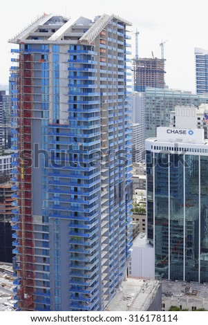 BRICKELL - SEPTEMBER 5: Image of Brickell City Center near completion which is a mied use project with residences, retail and dining establishements September 5, 2015 in Miami FL USA