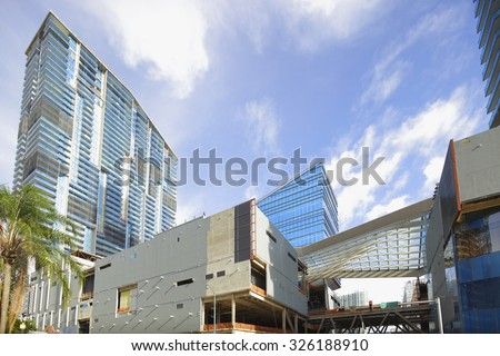 BRICKELL - SEPTEMBER 25: Image of multiple construction sites underway at Downtown Brickell during the real estate boom of 2015 September 25, 2015 in Brickell Miami, FL, USA - stock photo