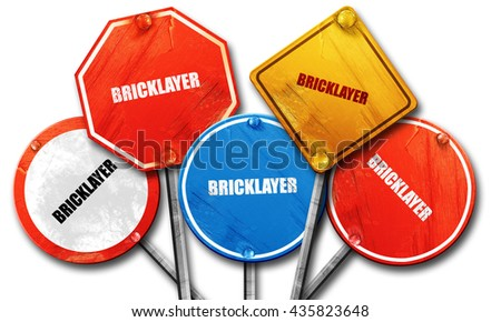 bricklayer, 3D rendering, rough street sign collection - stock photo