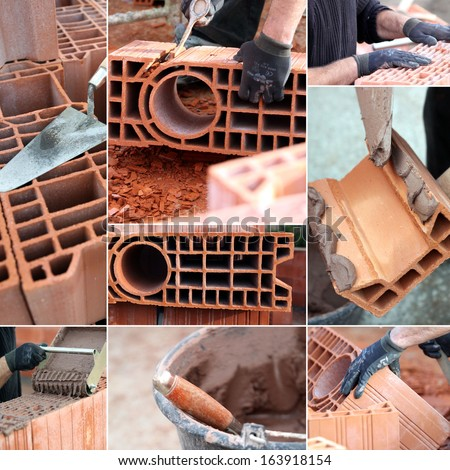 Bricklaying montage - stock photo
