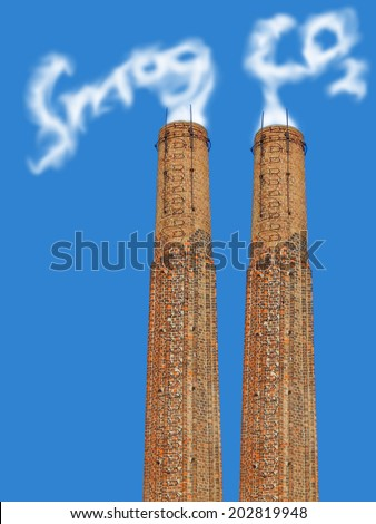 bricks factory chimney with symbolic emission of a co2 and smog  cloud - stock photo