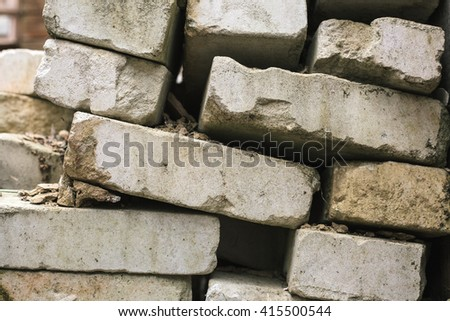 bricks from the destroyed house earthquake - stock photo