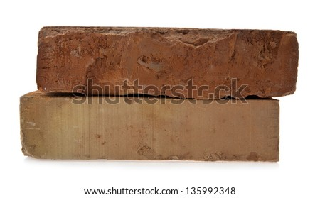 bricks on a white background - stock photo