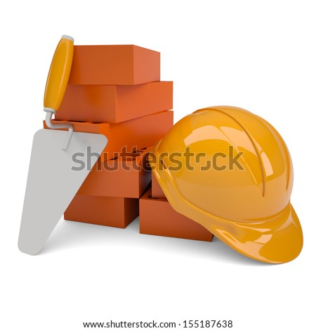 Bricks, trowel and a helmet. Isolated render on a white background - stock photo