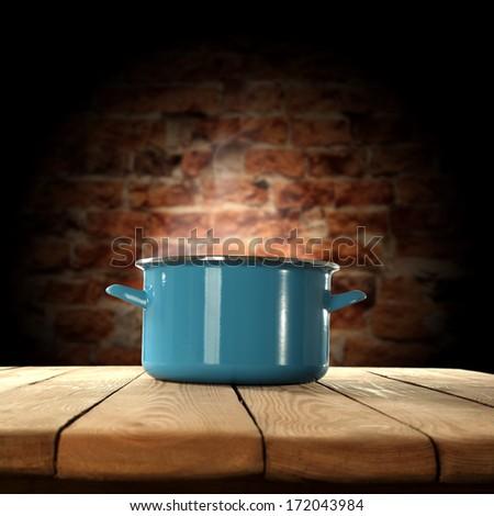 bricks wall and pot  - stock photo