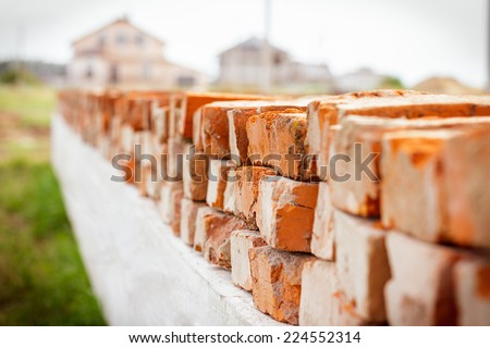 Brickwork in the new house - stock photo