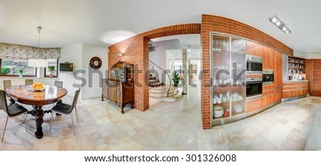 Bricky walls in the kitchen and dining area  - stock photo