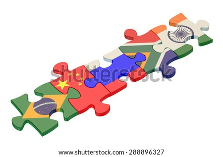 BRICS summit concept with puzzle isolated on white background