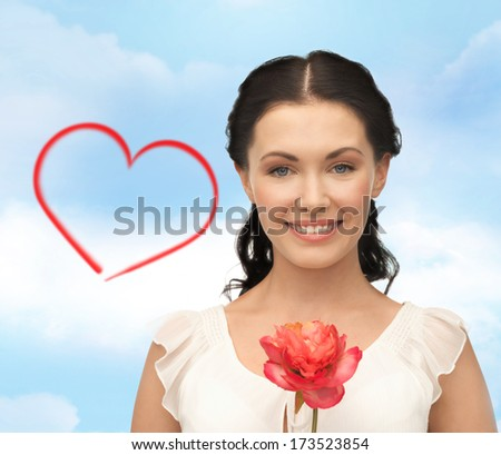 bridal and beauty concept - young and beautiful woman with flower - stock photo