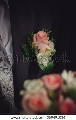 bridal bouquet and boutonniere - stock photo