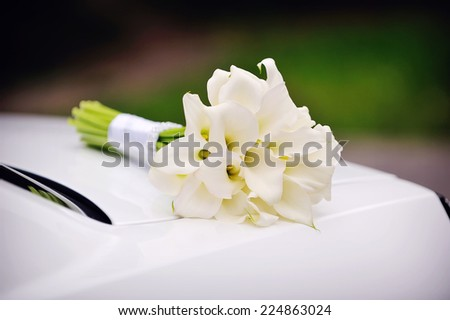 bridal bouquet of calla lilies. - stock photo