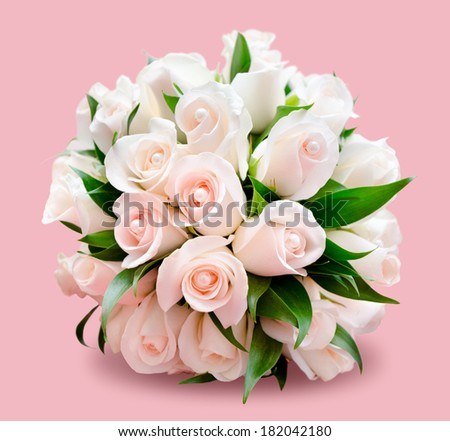 bridal bouquet of delicate light roses, isolated over pink - stock photo