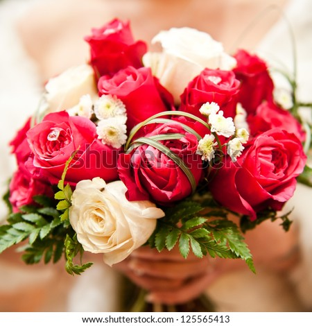 Bridal bouquet of pink and white roses
