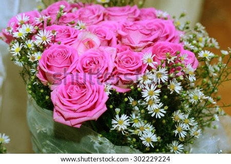 Bridal bouquet of pink roses - stock photo