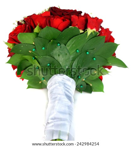 Bridal bouquet of red roses - stock photo