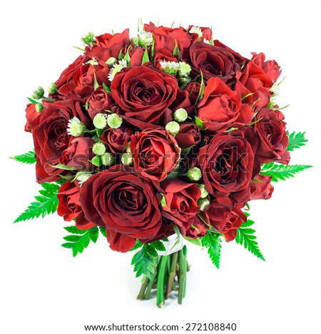 Bridal bouquet of red roses isolated on white